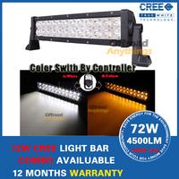 "13.5"" 72W Cree LED Light Bar OffRoad Fog Driving CREE LED color switch by control 4x4 SUV Bar UTV ATV 12V 24V"
