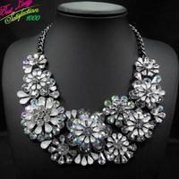 Winter New Arrival Fashion Luxury Crystal Flower Luxury za Big Brand Choker Collar Statement Shourouk Clain Necklace 9633