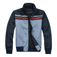 2014 Men's new brand casual jacket / Grid design zipper jacket