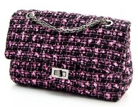 Tweed chain diagonal package, Ms. evening bags, office workers favorite, high-quality fabrics exquisite