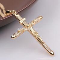 Mens or Womens 18k Gold GF Necklace Jesus Christ Crucifix Cross Pendant Chain