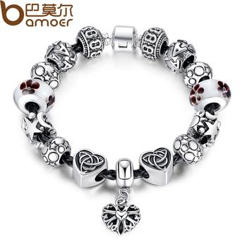 Bamoer горячая распродажа кожаный браслет с сердцем прелести в стойкость к окислению супер звезда бусины браслет для подарок на день рождения PA1824