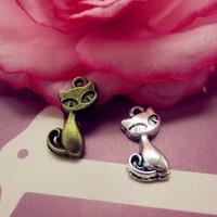 Wholesale Women Alloy Cut Cat Charms DIY Jewelry Antique Silver Charms 50pcs/bag
