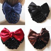 (4 Colors) Satin Lady Bow Hair Bun Net Snood Crochet Net Bun Hair Cover Women Hair Accessories
