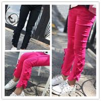 Hu sunshine wholesale  2014 New Autumn girls Slit Bows Stretch solid pink black Leggings WW11111961H