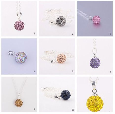 new arrival!mixed Fashion Micro Pave CZ clay women gift Crystal Pendant Silver Plated Chain Shamballa Necklace Wholesale.(China (Mainland))