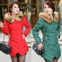 Brand New Women 2014 Jacket Warm Winter Coat Thicken Slim Female Raccoon Fur Long Casual Parka Coat Plus Size Duck Down