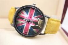 LZ Jewelry Hut DK05 2014 New Jeans Style Brand Design Denim Strap Vintage England Flag Quartz