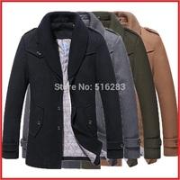 men jacket winter coat 2014 New Arrival Jacket Male Thickening Outerwear Medium-Long Jacket Men's Clothing Winter Men Coat