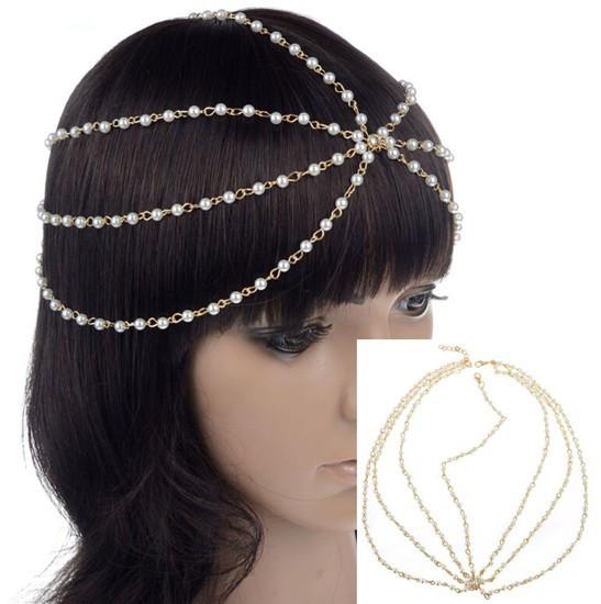 Celebrity Boho Punk Hair Cuff Pearl Headband Headdress Tassel Chain Head Jewelry(China (Mainland))