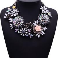 Winter New Fashion Luxury Crystal Flower Clear za Big Brand Party Jewelry Statement Shourouk Clain Choker Collar Necklace 9634