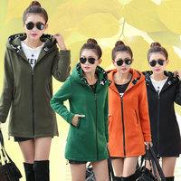 M-XXL Black/Orange/Army green Colors 2014 Winter Hot Fashion Women Coat Jacket Warm Zipper Hooded Sweatshirts Cardigan