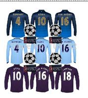 2014-15 Champions League long sleeve Football shirt KUN AGUERO TOURE YAYA DZEKO LAMPARD KOMPANY soccer jersey UCL+Respect