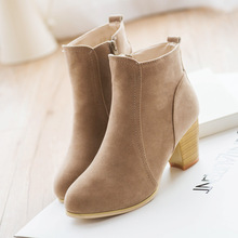 Autumn and winter  short cylinder boots with high heels boots shoes Martin boots women ankle boots with thick scrub 111108(China (Mainland))