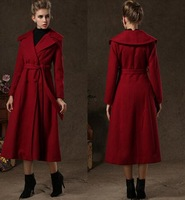 2014 Winter New European Celebrity Female Party Long Wool Overcoat Office Lady's Luxury Thick Cashmere Topcoat Fashion Cape Coat