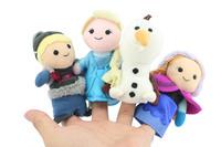 4pcs/set New  Frozen Finger Puppet Set of Four Stuffed Toys Finger Dolls Baby Toys Olaf Kristoff Anna Else Plush