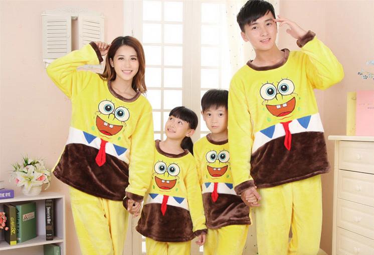 2015 winter flannel yellow family pajama set parent-child Sleep & Lounge sleepwear sets indoor nightclothes(China (Mainland))