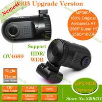 Original Mini 0801 0803 0805 Ambarella Car DVR with A7LA50D/A2S60 OV2710/AR0330/OV4689 1080P/1296P WDR SOS Optional GPS/8GB