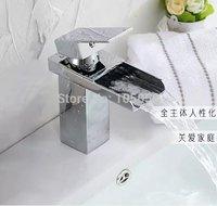 Free Shipping 2014 New Luxury Fashion Solid Brass body Deck Mounted WATERFALL  Bathroom basin Faucet Single Handle GF 1062
