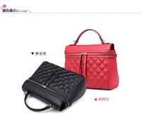 Free Shipping Fashion High Quality Plaid Genuine Leather Rivet Women's Tote Messenger Bag Lady Female Studded Work Bags Hobo