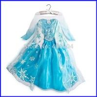 Frozen Elsa Princess Dress Fashion Long Sleeve Lace Costume Girl Baby Party Dresses 50pcs/Lot