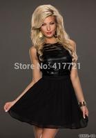 MML18134 Free Shipping New Design M/L Off Shoulder Mini Short Dress Chiffon Leather Sexy Vestidos Casual Black Party Dresses