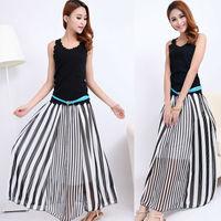 Spring 2014 New Arrival Casual Womens LongSkirts Black White Irregular Stripes Full-length Maxi Chiffon Skirt Plus Size lyq03