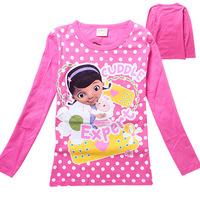 2014New GirlsT Shirts Doc Mcstuffins Shirts Childrens Shirt Cotton Novelty Casual Regular Full Sleeve High Quailty Fit2-8yrs 314