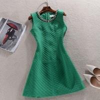 Women Autumn Winter Dress 2014 vintage Elegant Sleeveless Color Office Lady Dresses Pencil Plus Size XXXL novelty Dress SY2556