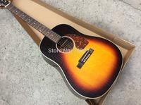 J45 Acoustic Guitar Top AAA Solid spruce Vintage Sunburst Color Guitar In Stock