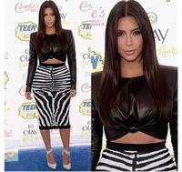 New Fashion 2015 Women Sexy Black PU Zebra Print Slim Bodycon Pencil 2 piece Dress Bandage  Evening Party Dresses NTDR-1162