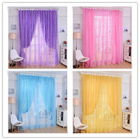 Romantic rose design window screening sheer wedding room voile curtain pink purple blue yellow four colors to choose