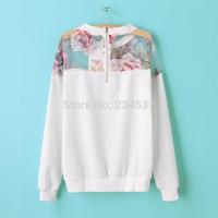 2014 brand new autumn Women Splicing hoodies Top Organza Sweats Loose Pullover Sweatshirt free shipping