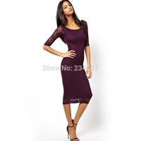 2014 new fashion Women 3/4 Sleeve Slim Bodycon Strench lace dress Cocktail Party sexy Midi Dress plus size S-2XL