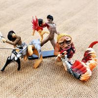4Pcs Animation Model Attack on Titan Mikasa Ackerman Eren Rivaille Titan Bloody Toy Doll 6cm