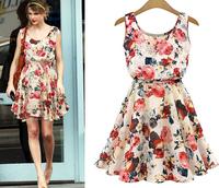 Brand Fashion Women New Apricot Sleeveless Round Neck Florals Print Pleated Dress 2014 Femininas Summer Clothing