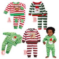 Children Christmas Pajamas Set children's suits boy suit Christmas embroidered fleece Santa Claus Christmas Sleepwear DHL FREE