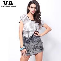 Womens Plus Size Dresses 5XL Butterfly Sleeve O Neck City Printing Women Dress 2014 New Fashion Loose Summer Dress 4XL W00144