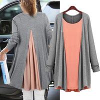 Hot Sale European Grand new plus size women's loose r long sleeve fake two tops, Pregnant women Clothing  : XL  XXL XXXL XXXXL