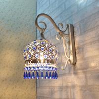 Rustic Fashion Wall Lamp Wrought Iron Crystal Wall Lamp Bedroom Lamp Bed-lighting Bohemia Lamp Mirror Light Free Shipping