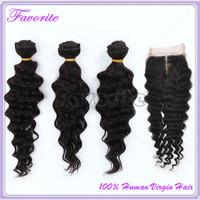 100% Human Hair Unprocessed 6A Malaysian Virgin Hair Deep Wave Human Hair Weave Ali Favorite Hair 3pcs Weft With 1pc Closure