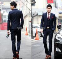 2014 Brand New Fashion Designer Men's Business Suit Luxury Dark Blue Man's slim fit Suits Jacket And Pants Customize