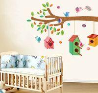 diy tree bird cage wall stickers for kids rooms bedroom poster adesivos decorativos 120*100cm