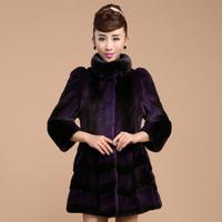 Elegant pure mink fur long coat for women ladies and girls with Chinese mandarin collar Purple and black fur coat