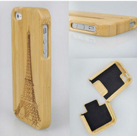 New Style Bamboo Traditional sculpture Wood Hard Back Wooden Case Cover phone Case for iphone 5 5S YC041