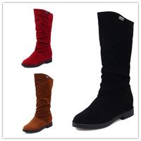 2014 women winter snow boots warm short plush round toe rubber sole fashion knee high boots botas de agua mujer shoes size35-39