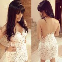 2014 Slim Design White Crochet Sexy Bandage Lace Dress Summer Backless Evening Party Dress Vestidos De Renda Com Tule Feminino
