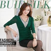 Fashion Look V-neck Patchwork Plus Size Warm Women Tops 2014 Newest Long Sleeve Slim Diamonds Camisas Femininas 903