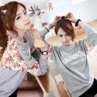 Fashion Women Floral Print Long Sleeve Sweatshirts Casual Tshirt Streetwear Tops Rainbow Sweetly