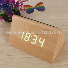Bamboo Wood Triangular Green LED Alarm Digital Desk Clock Wooden Thermometer FREE SHIPPING(China (Mainland))